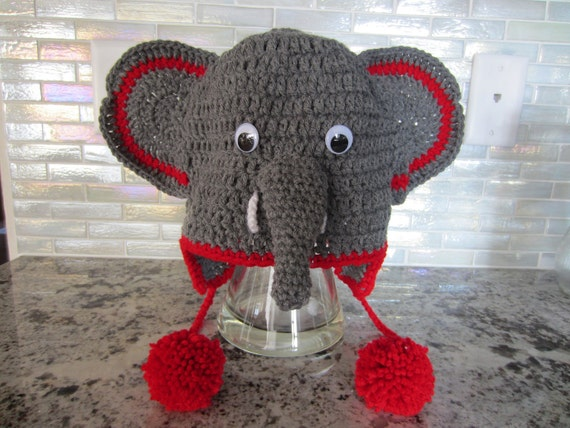 ELEPHANT HAT. Unique hat gift. So cute for young and young of heart. Custom/made to order item.