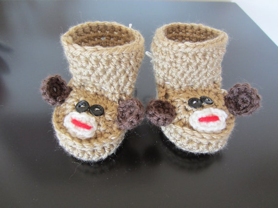 MONKEY BABY BOOTIES. Baby Monkey Shoes. Baby Shower, Unique, Cute.