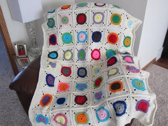 Modern Granny Square BLANKET/BEDSPREAD. Multicolored blanket. COZY Crochet Afghan.