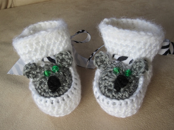 Koala Baby Booties in white and gray. CUTE Baby Shoes.
