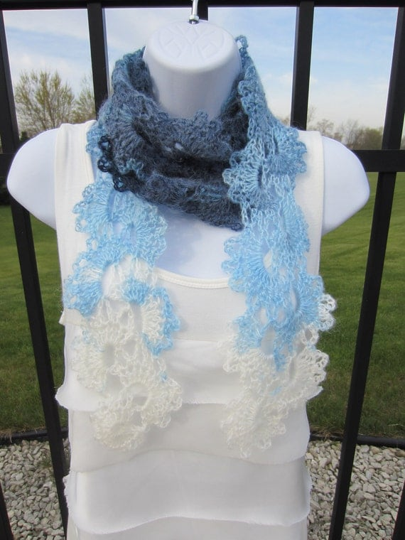 Queen Anne's Lace Scarf in shades of blue and cream. Made to order. All Season Scarf. Beautiful Gift for Girlfriend, Woman.