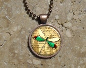 Manuscript Dragonfly - Round Copper Pendant - Resin Pendant Necklace - Manuscript Dragon Fly 11