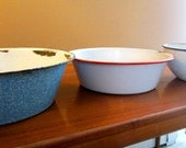 Vintage Enamel Metal Bowls - Blue, White - Antique Enamelware - REALLY COOL - Set of 3