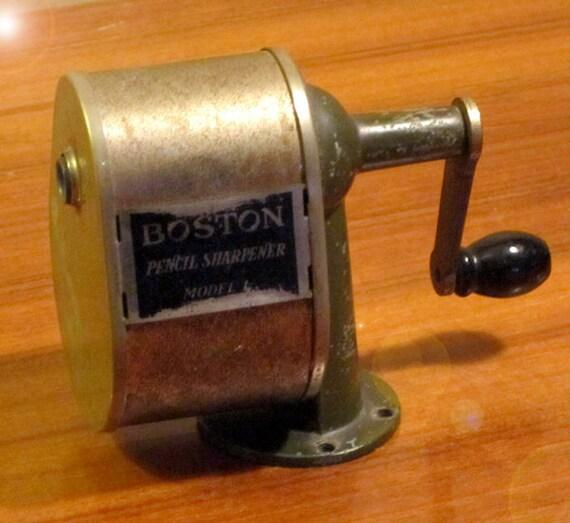"""Vintage Boston Pencil Sharpener Model """"L"""" Made by C. Howard Hunt Pen Co. in Camden N.J.  Super Cool."""