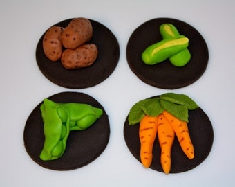 VEGETABLES -  Fondant Cupcake, and Cookie Toppers - 1 Dozen