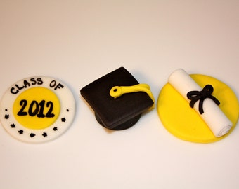 GRADUATION  -  Fondant Cupcake, and Cookie Toppers - 1 Dozen
