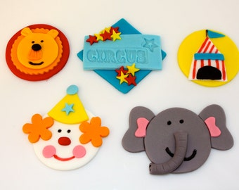 CIRCUS -  Fondant Cupcake, and Cookie Toppers - 2 Dozen