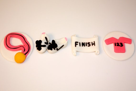 RUNNING SPORTS RACE -  Fondant Cupcake, and Cookie Toppers - 1 Dozen