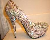 Crystal Clear Aurora Borealis Crystallized High Heels