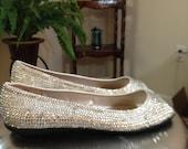 Embellished Crystal Clear Peep Toe Flats