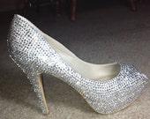 Crystallized Crystal Clear Peep Toe High Heels