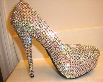 Crystal Clear Aurora Borealis Crystallized High Heels