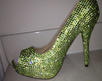 Green Crystallized High Heels