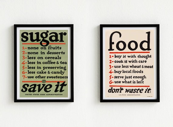 Two Vintage posters  U. S. Food Administration -  8.2 in  x 11.6 in