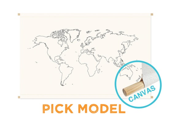 Gigantic CANVAS World Map Print - 39.4 in x 27.5 in - XLARGE