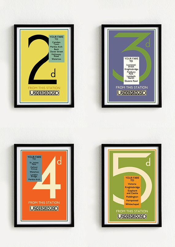 UK Transportation London Stations, Poster Of London, London Townhouses, Four Vintage Art Print Poster LONDON UNDERGROUND