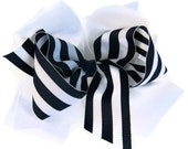 Girls hair bows, Navy blue, White Girls Hair Bow Boutique Hair Bows Back to School Custom hair bows Big hair bow