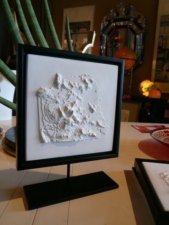 Topography Map San Francisco - Framed Gypsum Relief Map - 10.5 x 10.5 inch - Home Decor