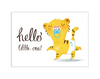 Hello little one new baby boy greeting card
