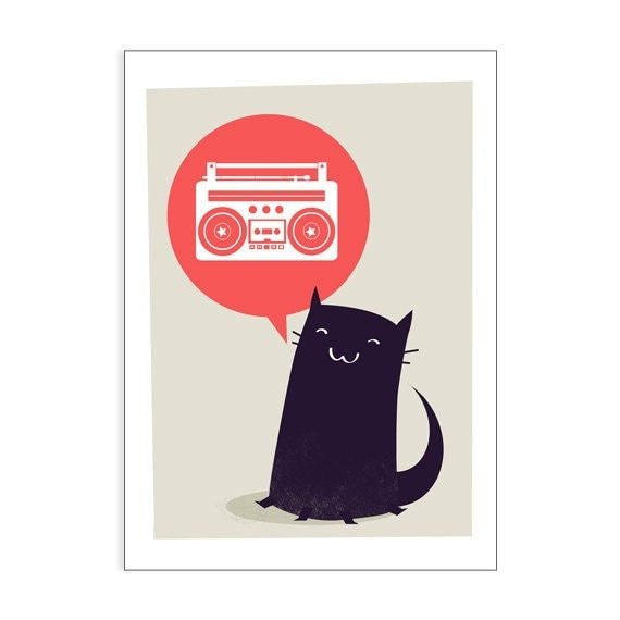 Kitty wants Boombox - greeting card