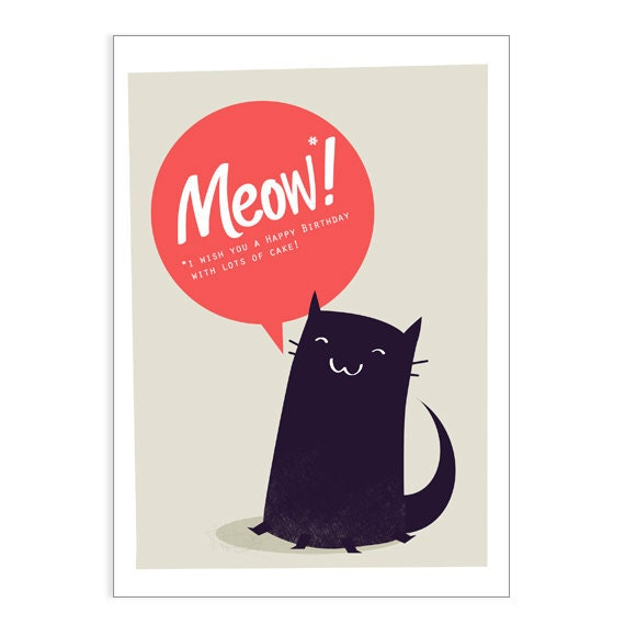 Meow  Happy Birthday card - card for cat lover - cat card - cat birthday card - black cat card - card for friend