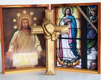Holy Shrine Art Box Vintage Religious Jesus Mary Assemblage Catholic Praying Hands Cross Worship