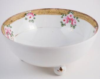 Porcelain Bowl Nippon Ceramic Pink Roses Made in Japan