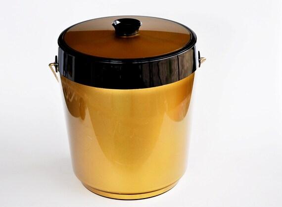 Retro Gold Thermo-Serv Plastic Ice Bucket Mad Men Style Entertaining Modern Mid Century Decor Midcentury Party Bar Dining Mod Chic