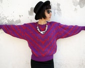 80s Vintage Super Zig Zag V motifs Pullover Sweater- Purple ,Red and Metallic silver Knit Sweater- Madonna gear