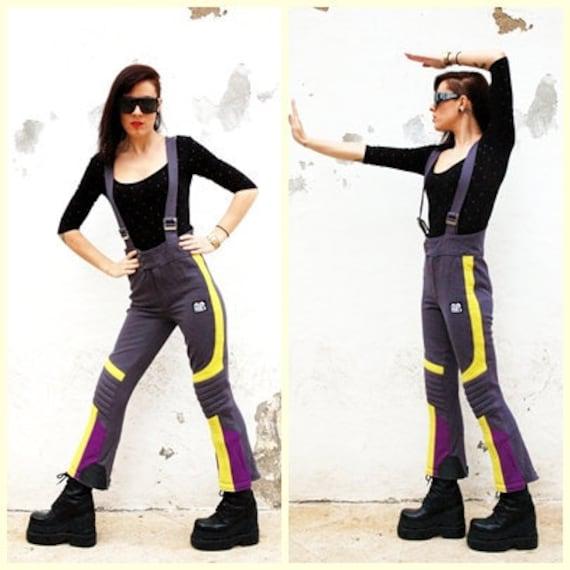 Club Kid 80/ 90s Raver- Vintage Ski Suit/ Ski Romper Jumper suit - Neon yellow Purple and Gray