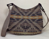 Native American Pendleton wool Hobo Bag with Navajo pattern muted latte, yellows and oranges