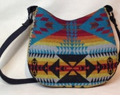 Native American Pendleton wool Hobo Bag with Navajo pattern tourquoise, Red, Black, Yellow and Orange