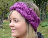 Headband KNITTING PATTERN Quick and Easy Beginner Knit Plaited Cable Headband chunky super bulky earwarmer pattern