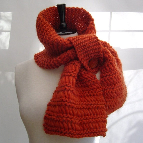 Items similar to Easy Beginner KNITTING PATTERN Retro style Chunky Scarf with...