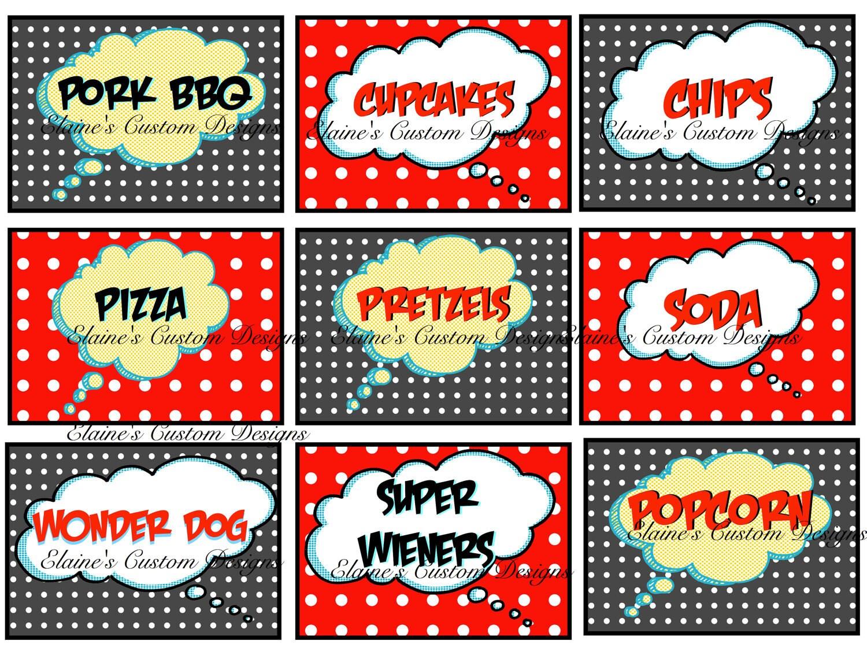 Comic Superhero Food Labels Printable