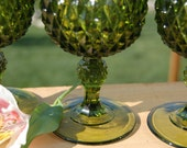 Goblets, Green Diamond Point, Indiana Glass, stemmed, wine goblet