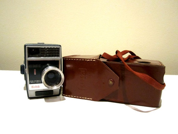 Vintage Kodak Automatic 8 Movie Camera with Leather Case Holder