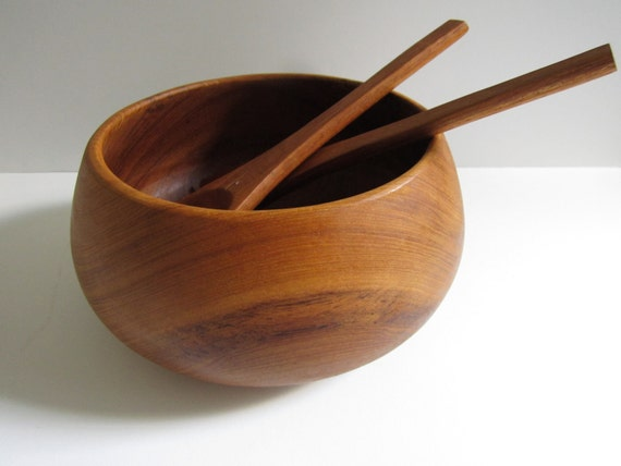 Mid CenturyTeak Salad Bowl and Serving Spoons