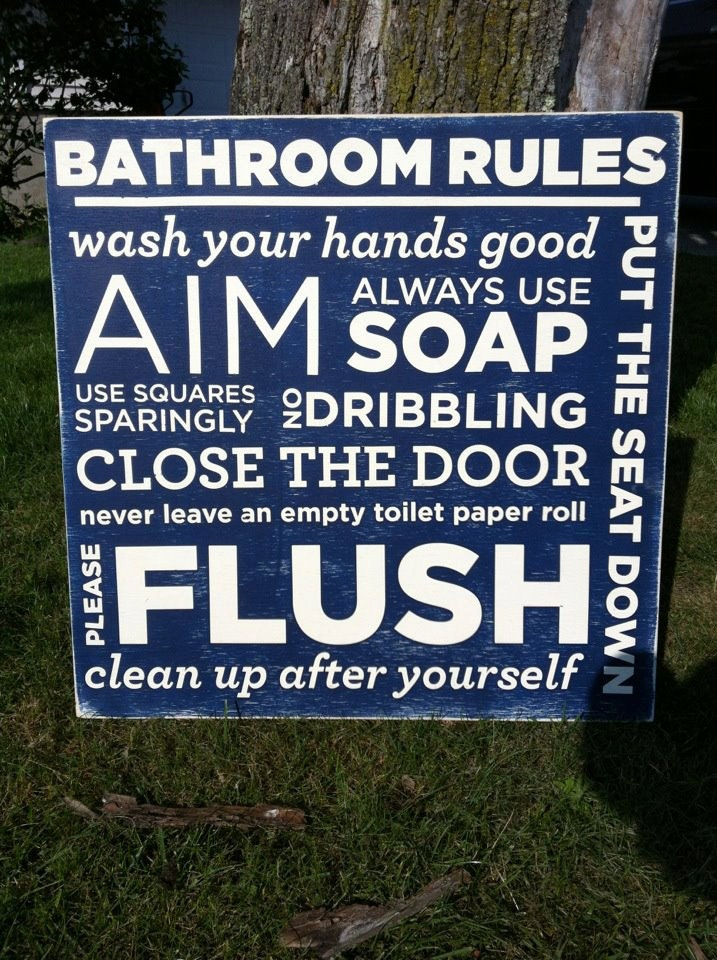 Bathroom rules hand painted for Bathroom decor rules