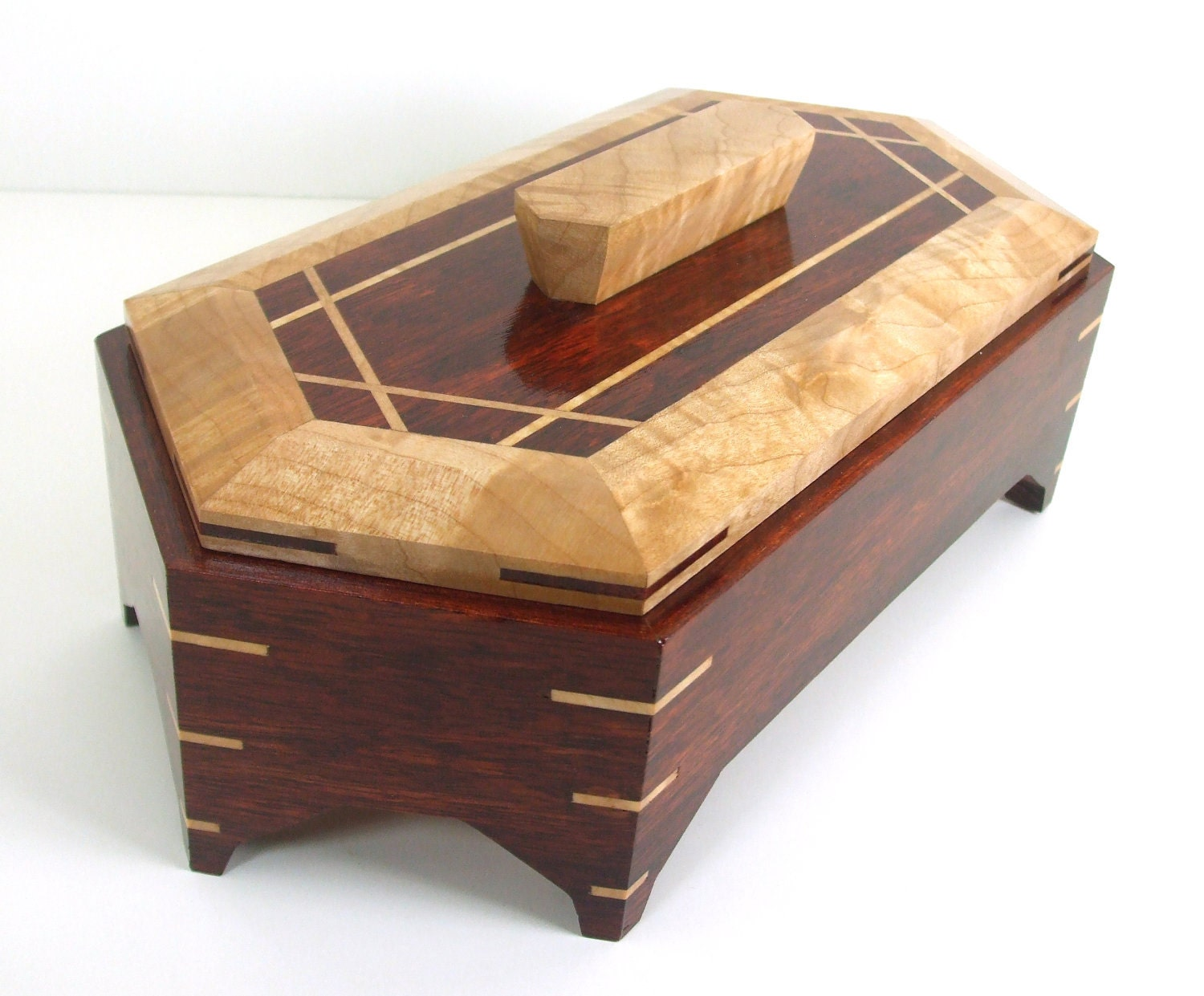 Bloodwood jewelry box handmade from exotic solid bloodwood for Jewelry box made of wood