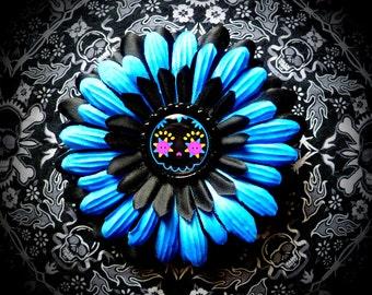 Shockingly Blue Skull hair flower
