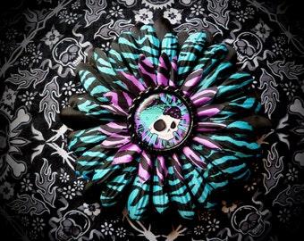 Gothabilly Skull hair flower