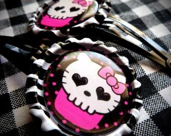 Kitty Skull Kupcake hair clips