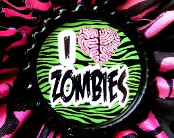 I Love Zombies hair flower