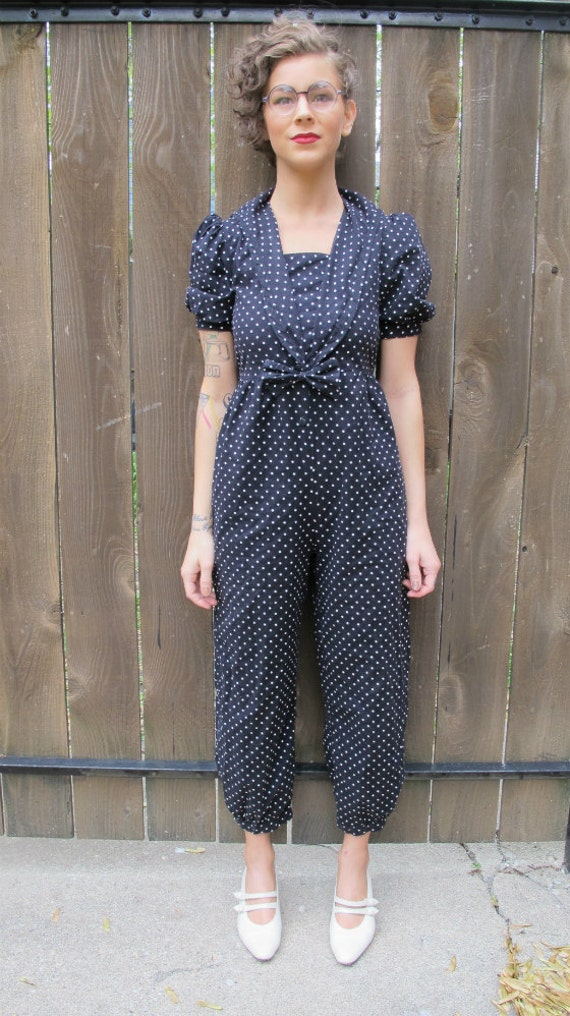 Vintage 1970s nautical style My Michelle polka-dotted sailor jumper/romper -SIZE EXTRA SMALL
