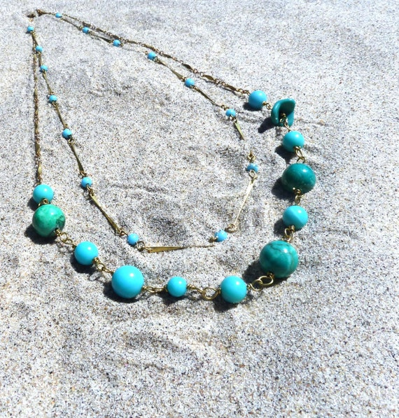 Turquoise Necklace - Double Strand Vintage Gold Wire Wrapped