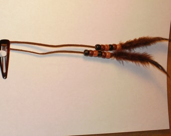 Brown Buffalo. Feather Hair Barrette,