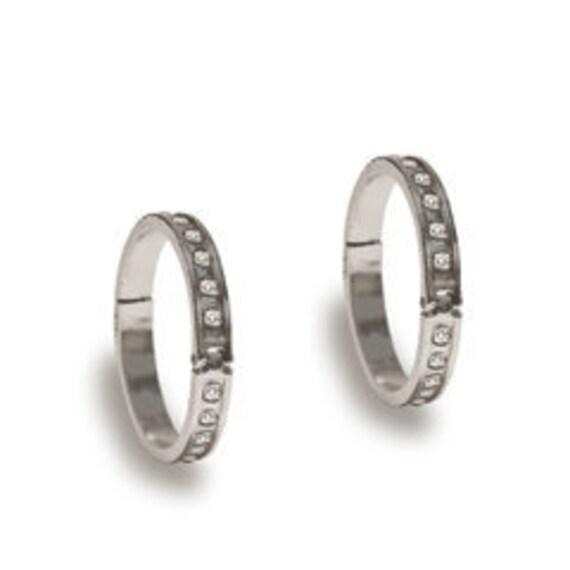 7 Gypsies Binding Ring Dark Silver with Crystals