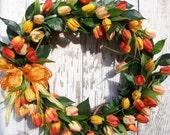 Spring Summer Wreath, Golden Yellow and Orange Tulips Wreath