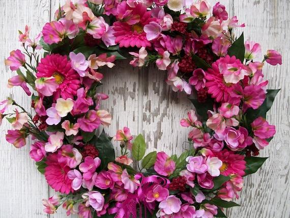 Reserved - Pink Field of Sweet Peas, Poppies and Gerbera Daisies Wreath